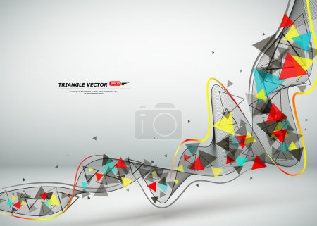 Abstract composition, text frame, flying triangle curve line icon, red, yellow, blue figure construction, white backdrop, interlocking band weave, startup screen saver, technological surface, flier fashion, daily periodical issue, EPS10 illustration