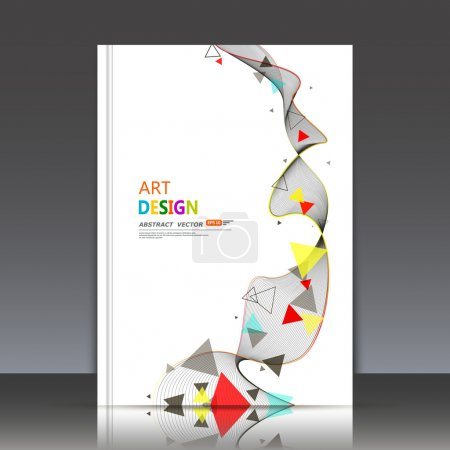 Abstract composition, text frame, flying triangle curve line icon, red, yellow, blue figure construction, white backdrop, interlocking band weave, a4 brochure title sheet, technology surface, flier fashion, daily periodical issue, EPS10 illustration