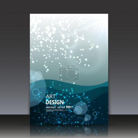 Abstract composition, water circle effect icon, air bead in ocean frame, round shine, light ray in sea font, a4 brochure title sheet, oxygen bulb, elegant blue backdrop surface, daily periodical issue, fancy flier fashion, creative EPS10 illustration