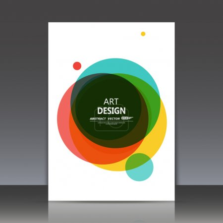 Abstract composition, elegant red, yellow, green, black surface, classic circle text frame, white a4 brochure title sheet, creative figure logo sign construction,  firm banner form icon, fancy flier fashion, daily periodical issue, EPS10 illustration