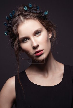 fashion model with flowers in hair