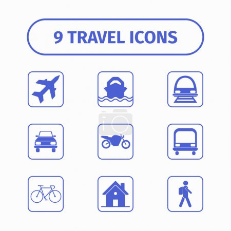 Travel and transport icon set for Web and Mobile App. Each icon is a single object.