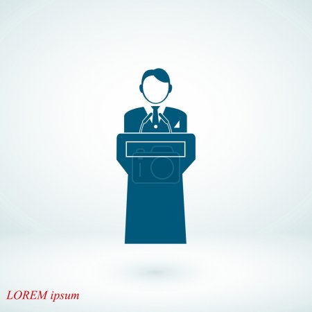 Speaker stands behind the podium