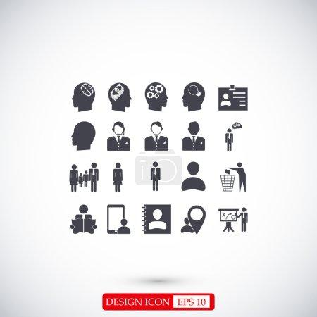 Illustration pour Icônes plates homme d'affaires mis isolé sur fond clair - image libre de droit