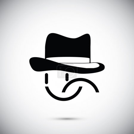 Illustration for Smile in hat icon vector illustration - Royalty Free Image