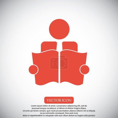 Illustration pour Livre Reader signe icône vector illustration - image libre de droit