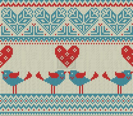 Seamless pattern on the theme of Valentines Day with an image of the Norwegian patterns and hearts. Figure showing kissing birds. Wool knitted texture