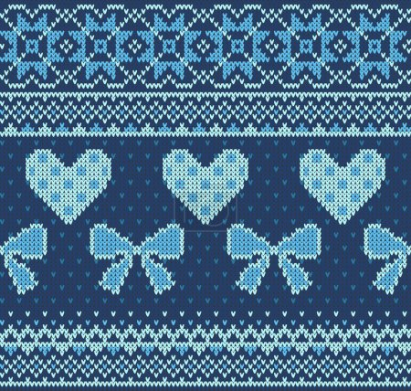 Seamless pattern on the theme of Valentines Day with an image of the Norwegian patterns and hearts. Wool knitted texture