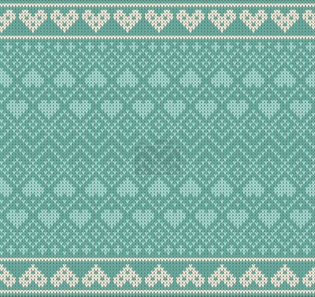Seamless pattern on the theme of Valentines Day with an image of the Norwegian patterns and hearts. Wool knitted texture. Vector Illustration.