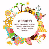 Summer icons text border Different summer holidays and summer trips symbols designed as text frame