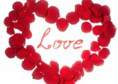 Beautiful symbol of heart of red rose petals isolated on white with Love word in the center
