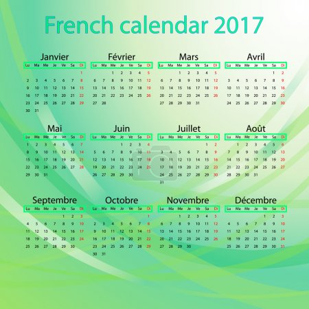 French calendar 2017 on green background