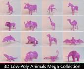3D kolekce zvířat růžové nízké poly