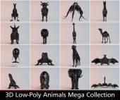 3D zvířata kolekce černé nízké poly