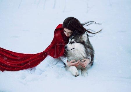 Photo pour Chaperon rouge perdu dans la forêt mystique enneigée et rencontré un loup, tir fantastique, tonification à la mode, couleurs créatives de l'ordinateur - image libre de droit
