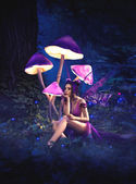 Fairy sitting under huge mushrooms
