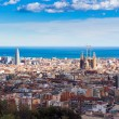 Panoramic view of Barcelona city from the mountain...