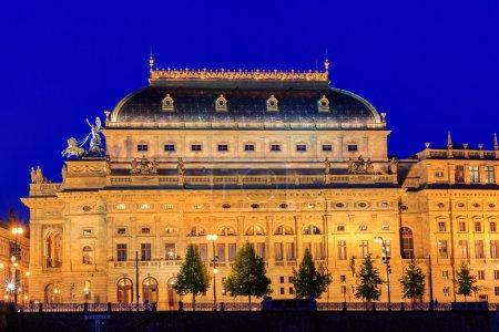 Prague, National Theatre in night.