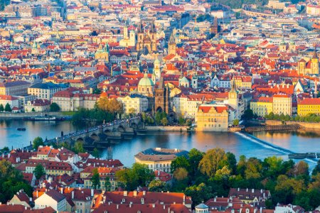 Panorama of Vltava and Charles Bridge