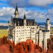 Постер, плакат: Neuschwanstein Castle with red foliage