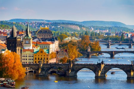 View of the Vltava River and Charle bridge