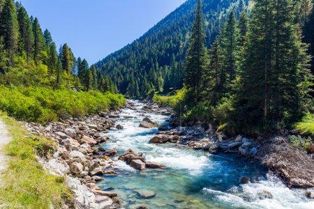 Photo pour Pastorale dans la vallée alpine en Autriche. Ruisseau de montagne rapide. Cascades d'eau froide à la source des célèbres cascades de Krimml . - image libre de droit