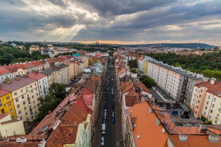 View of Prague taken from Nuselsky bridge on sunset
