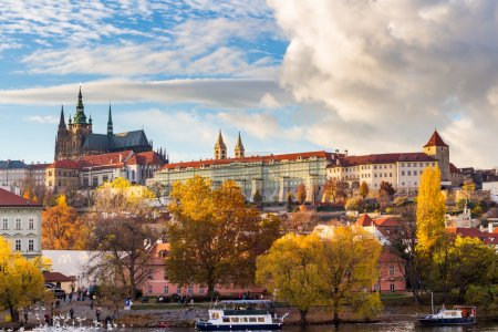 View of colorful old town and Prague castle