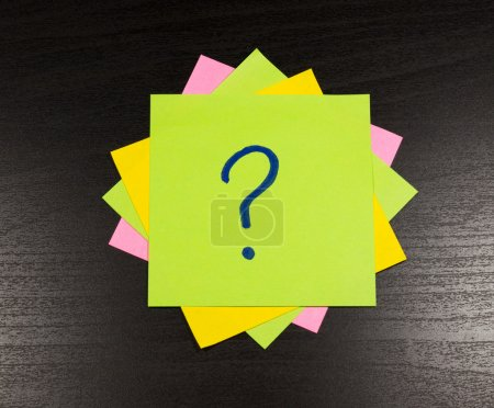 question mark on a sticky note