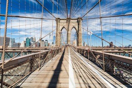 Views of the Brooklyn Bridge on a summer day