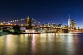 Views of the Brooklyn Bridge on sunset