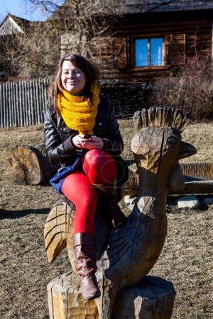 Girl in historic village Vlkolinec, Slovakia