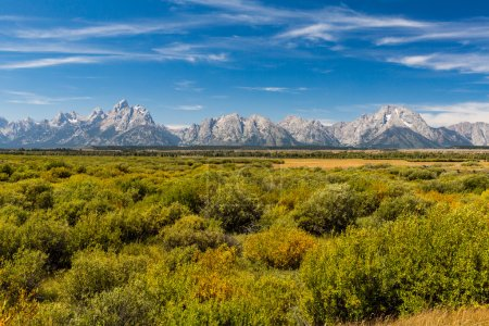Photo pour Vue sur les champs et les montagnes dans le Parc National de Grand Teton, Wyoming - image libre de droit
