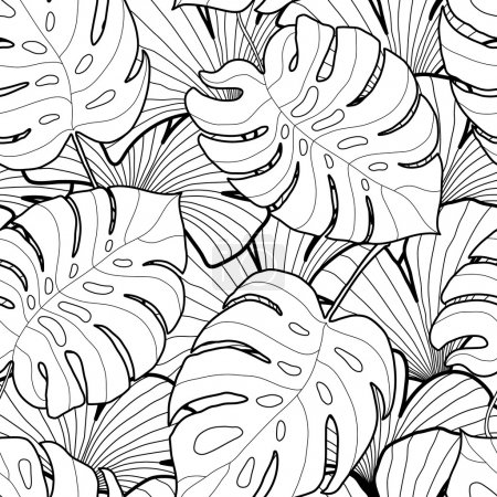 Illustration for Black and white graphic tropical leaves seamless pattern. Palm tree background. Textile, fabric, texture, poster. Vector illustration - Royalty Free Image