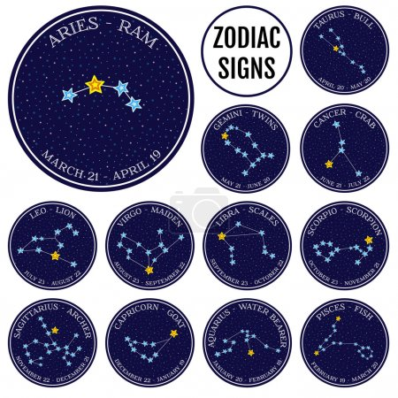 Set of zodiac constellations in space. Cute cartoon style vector