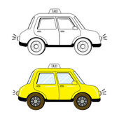 Black and white and colored cute cartoon style taxi