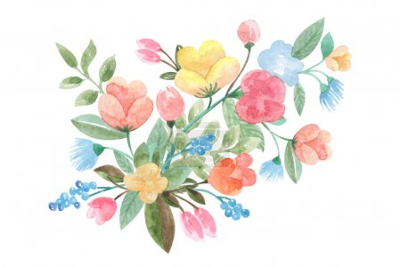 floral panel in retro style illustration of a watercolor