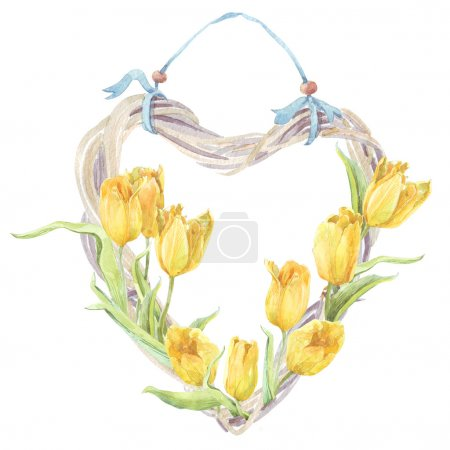 Photo for Watercolor painting wreath of spring flowers yellow tulips - Royalty Free Image