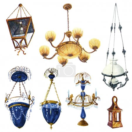 Watercolor lamps and chandeliers