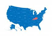 Map of the USA Image with clipping path and name of states State mark Kentucky Vector illustration