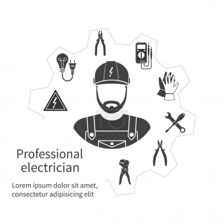 Illustration for Concept of profession electrician. Repair and maintenance of electricity. Electricity service. Electricians tools, equipment. Banner, template, logo, background. Vector. Electrician occupation. - Royalty Free Image