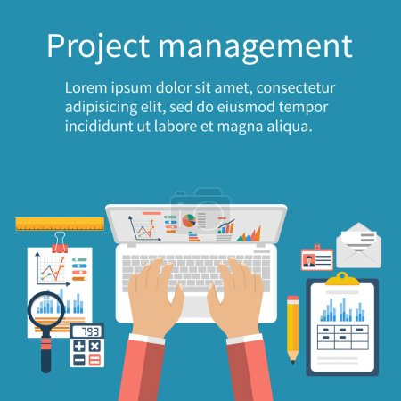 Project management concept. Business analysis, planning, financi