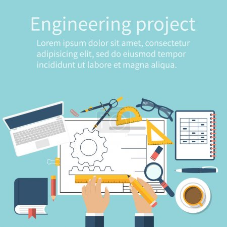 Engineer working on blueprint. Engineering drawing, technical sc