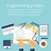 Engineer working on blueprint Engineering drawing technical scheme Sketching gear project Engineer Designer in project Drawings for production engineering manufacturing processes Vector flat