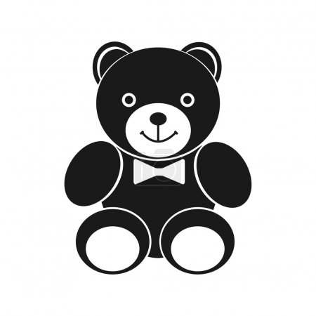 Teddy bear icon. Black icon on white background. S...