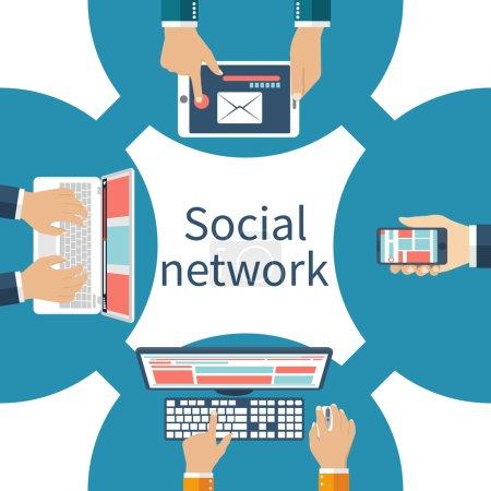 """Illustration pour Concept de réseau de médias sociaux. Gens avec un ordinateur portable, téléphone, tablette, ordinateur dans le réseau social. Vector illustration plat style """"design"""". - image libre de droit"""