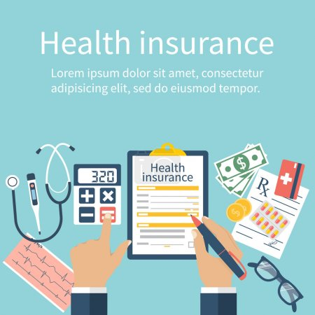 Illustration for Man at the table fills in the form of health insurance. Healthcare concept. Vector illustration flat design style. Life planning. Claim form. Medical equipment, money, prescription medications. - Royalty Free Image