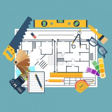 Remodeling plan, construction tools