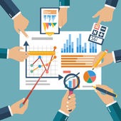 Finance report concept flat style vector Financial management profit strategy investments planning financial audit  financial research data analysis marketing research consultant analytics