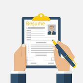 Resume form in the hands